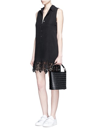 Figure View - Click To Enlarge - Equipment - 'Lucida' lace hem sleeveless silk shirt dress
