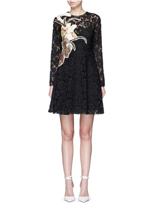 Main View - Click To Enlarge - Valentino - 'Kimono 1997 Re-Edition' floral patchwork lace dress