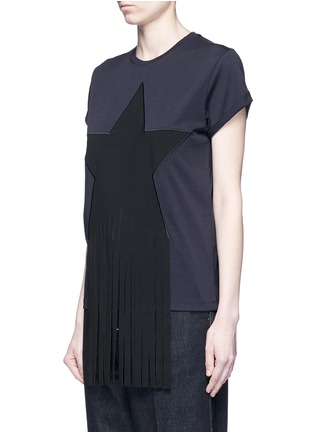 Front View - Click To Enlarge - Stella McCartney - Fringe star patch jersey T-shirt