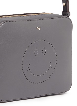 Detail View - Click To Enlarge - Anya Hindmarch - 'Smiley' perforated leather crossbody bag