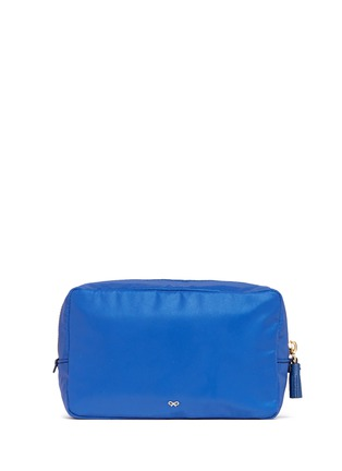 Figure View - Click To Enlarge - ANYA HINDMARCH - 'Space Invaders' leather character reflective nylon cosmetics pouch