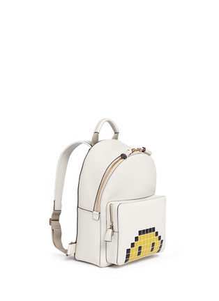 Front View - Click To Enlarge - Anya Hindmarch - 'Pixel Smiley Mini' embossed leather backpack