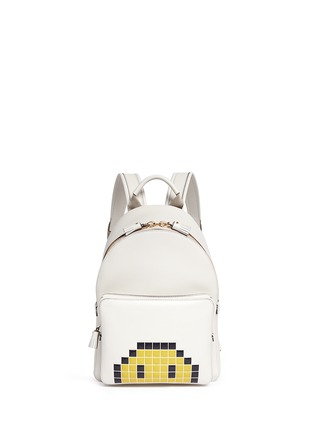 Main View - Click To Enlarge - Anya Hindmarch - 'Pixel Smiley Mini' embossed leather backpack