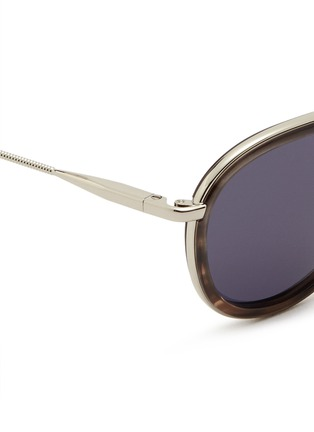 Detail View - Click To Enlarge - Lanvin - Herringbone chain temple tortoiseshell acetate round sunglasses