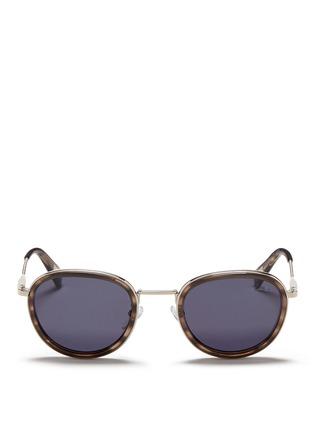 Main View - Click To Enlarge - Lanvin - Herringbone chain temple tortoiseshell acetate round sunglasses