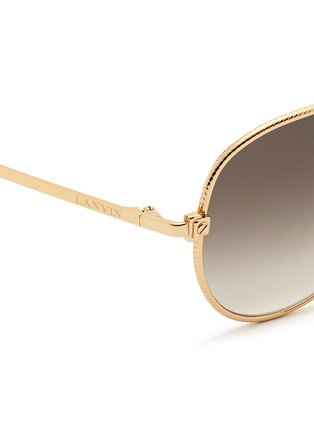 Detail View - Click To Enlarge - Lanvin - Herringbone chain rim metal aviator sunglasses