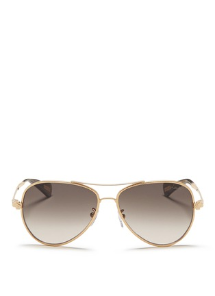 Main View - Click To Enlarge - Lanvin - Herringbone chain rim metal aviator sunglasses