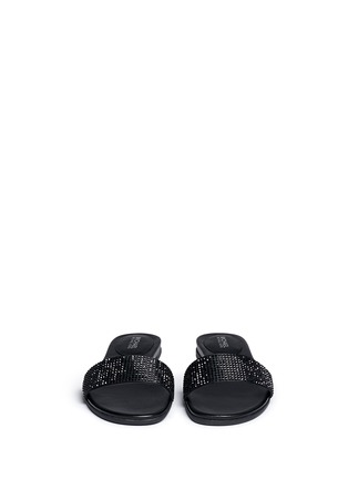 Front View - Click To Enlarge - Michael Kors - 'Eleanor' strass satin slide sandals