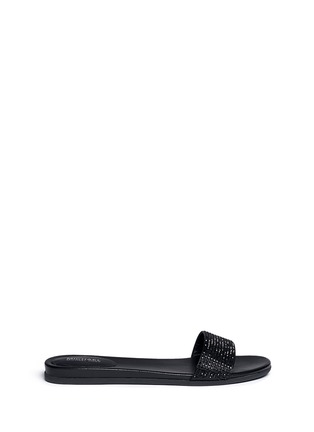 Main View - Click To Enlarge - Michael Kors - 'Eleanor' strass satin slide sandals