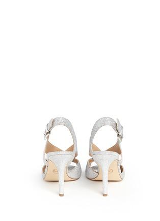 Back View - Click To Enlarge - Michael Kors - 'Becky' metallic glitter lamé slingback sandals