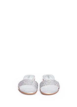 Front View - Click To Enlarge - Michael Kors - 'Eleanor' strass satin metallic slide sandals