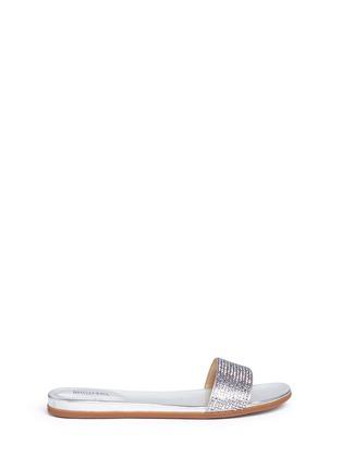 Main View - Click To Enlarge - Michael Kors - 'Eleanor' strass satin metallic slide sandals