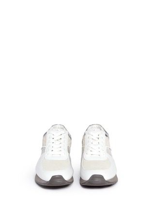 Front View - Click To Enlarge - Michael Kors - 'Allie' colourblock patchwork leather sneakers