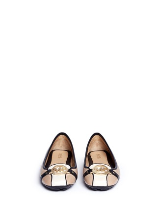 Front View - Click To Enlarge - Michael Kors - 'Fulton' logo plaque colourblock leather flats