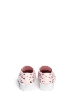 Back View - Click To Enlarge - Michael Kors - 'Keaton' perforated floral leather slip-ons