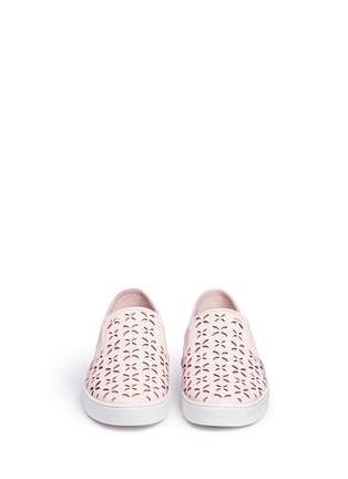 Front View - Click To Enlarge - Michael Kors - 'Keaton' perforated floral leather slip-ons