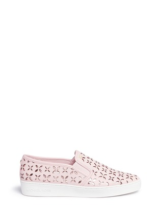 Main View - Click To Enlarge - Michael Kors - 'Keaton' perforated floral leather slip-ons