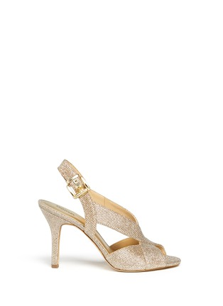 Main View - Click To Enlarge - Michael Kors - 'Becky' metallic glitter lamé slingback sandals