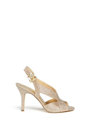 Main View - Click To Enlarge - MICHAEL KORS - 'Becky' metallic glitter lamé slingback sandals