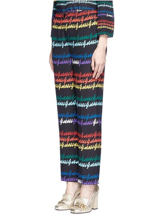 Front View - Click To Enlarge - Gucci - Rainbow print silk pyjama pants