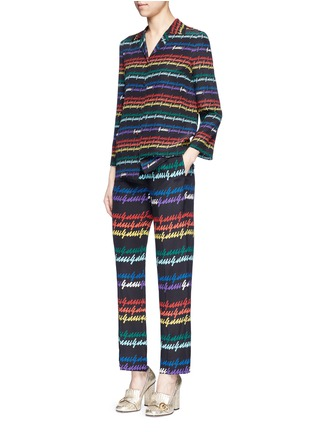 Figure View - Click To Enlarge - Gucci - Rainbow print silk pyjama pants