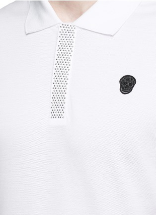 Detail View - Click To Enlarge - Alexander McQueen - Logo stud placket polo shirt