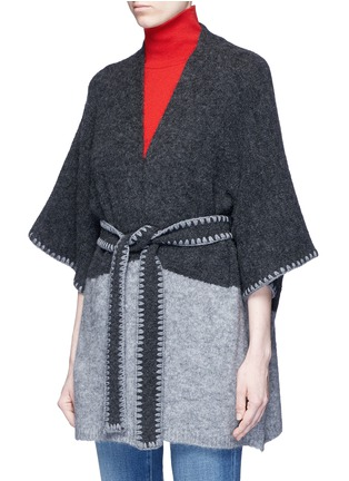 Front View - Click To Enlarge - alice + olivia - 'Rikkie' chevron trim wool blend poncho