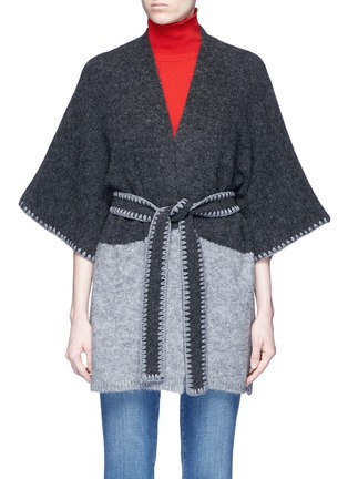 Main View - Click To Enlarge - alice + olivia - 'Rikkie' chevron trim wool blend poncho
