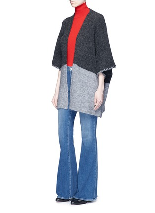 Figure View - Click To Enlarge - alice + olivia - 'Rikkie' chevron trim wool blend poncho