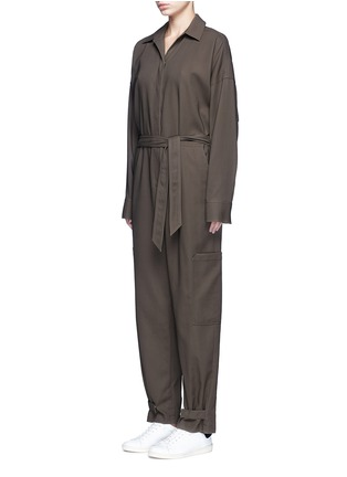 Front View - Click To Enlarge - HELMUT LANG - Tie waist utility cotton twill jumpsuit