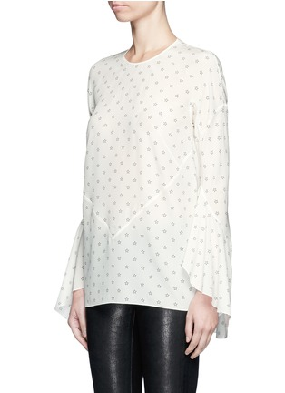 Front View - Click To Enlarge - GIVENCHY - Bell cuff star print silk top