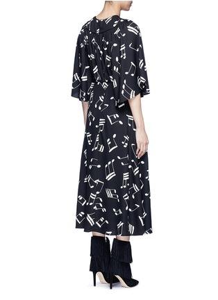 Back View - Click To Enlarge - SAINT LAURENT - Musical note print midi dress