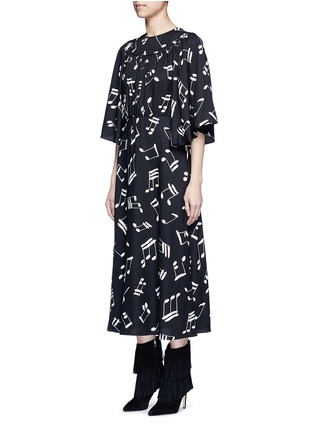 Front View - Click To Enlarge - SAINT LAURENT - Musical note print midi dress