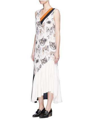 Figure View - Click To Enlarge - Stella McCartney - 'Ilona' stripe cat print asymmetric silk dress