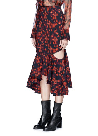 Front View - Click To Enlarge - GIVENCHY - Cutout mermaid hem floral print skirt