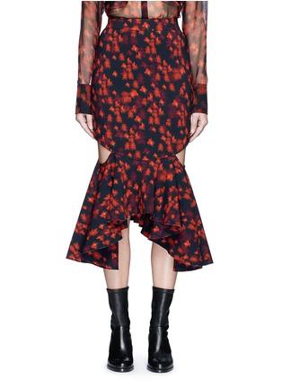 Main View - Click To Enlarge - Givenchy - Cutout mermaid hem floral print skirt