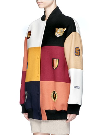 Front View - Click To Enlarge - Stella McCartney - 'Sabine' embroidered badge colourblock varsity jacket
