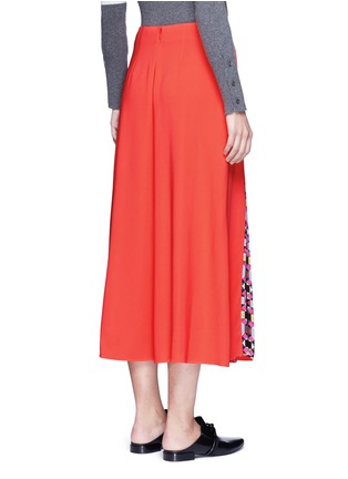 Back View - Click To Enlarge - EMILIO PUCCI - 'Cady' check star print pleated maxi skirt