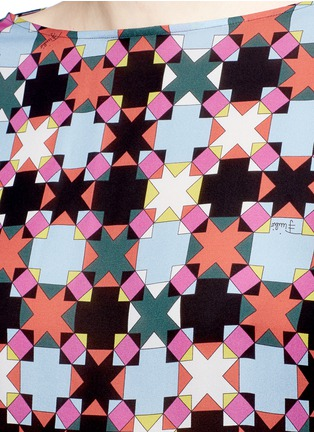 Detail View - Click To Enlarge - Emilio Pucci - Stripe cuff Monreale check star print georgette top