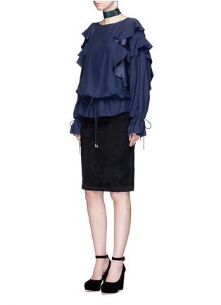 Figure View - Click To Enlarge - Lanvin - Drawstring waist ruffle silk top