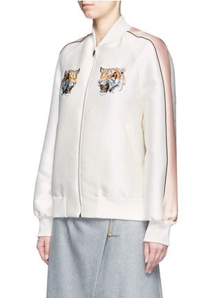 Front View - Click To Enlarge - STELLA MCCARTNEY - Tiger embroidery duchesse satin bomber jacket