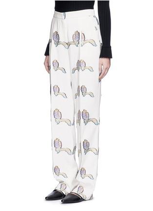 Front View - Click To Enlarge - Emilio Pucci - Feather fil coupé wide leg pants