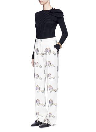 Figure View - Click To Enlarge - Emilio Pucci - Feather fil coupé wide leg pants