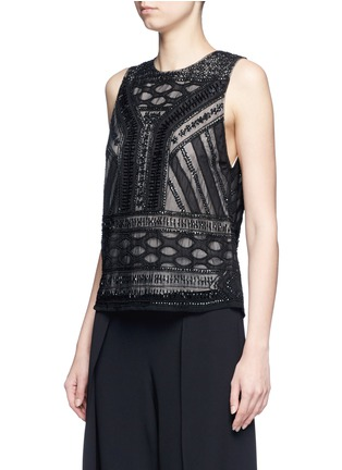 Front View - Click To Enlarge - alice + olivia - 'Sharla' tribal sequin bead embellished top