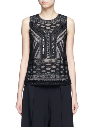 Main View - Click To Enlarge - alice + olivia - 'Sharla' tribal sequin bead embellished top