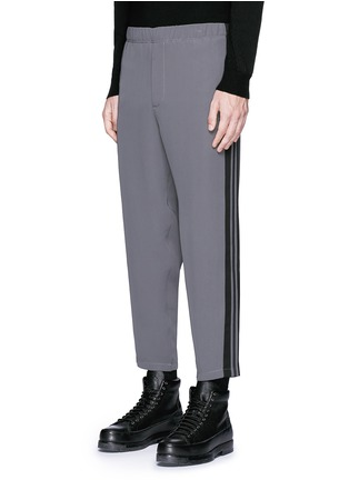 Front View - Click To Enlarge - Alexander McQueen - Side stripe cropped jogging pants