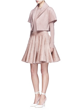 Figure View - Click To Enlarge - Alaïa - Velour knit flared skirt