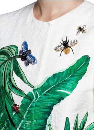 Detail View - Click To Enlarge - Dolce & Gabbana - Embellished banana leaf print brocade coat