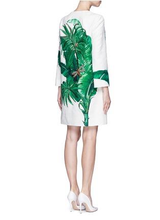 Back View - Click To Enlarge - Dolce & Gabbana - Embellished banana leaf print brocade coat