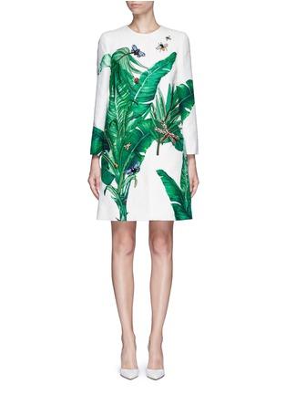Main View - Click To Enlarge - Dolce & Gabbana - Embellished banana leaf print brocade coat